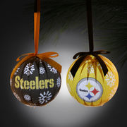 Pittsburgh Steelers 6-Piece LED Boxed Ornament Set -  Black/Gold