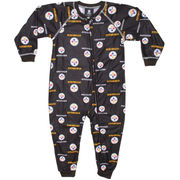 Pittsburgh Steelers Toddler Piped Raglan Full Zip Coverall - Black