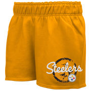 Pittsburgh Steelers Youth Girls Fleece Short - Gold