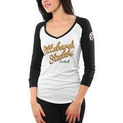 '47 Brand Pittsburgh Steelers Women's Batter Up Raglan Long Sleeve T-Shirt - White
