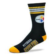 Pittsburgh Steelers For Bare Feet 4-Stripe Deuce Team Color Performance Crew Socks