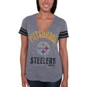 Pittsburgh Steelers Women's Team Captain Tri-Blend V-Neck T-Shirt - Gray