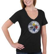 Pittsburgh Steelers 5th & Ocean by New Era Women's Missy Big Logo Tri-Blend V-Neck T-Shirt - Black