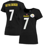 Ben Roethlisberger Pittsburgh Steelers Majestic Women's Fair Catch V Name & Number T-Shirt - Black