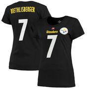 Ben Roethlisberger Pittsburgh Steelers Majestic Women's Fair Catch V Name & Number T-Shirt - Black