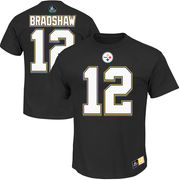 Terry Bradshaw Pittsburgh Steelers Majestic Hall of Fame Eligible Receiver II Name & Number T-Shirt - Black
