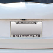 Pittsburgh Steelers Small Over Large Carbon Fiber License Plate Frame with Matte Letters