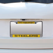 Pittsburgh Steelers Small Over Large Mirror License Plate Frame with Glitter Letters