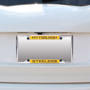 Pittsburgh Steelers Small Over Small Mirror License Plate Frame with Glitter Letters