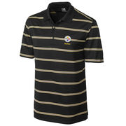 Pittsburgh Steelers Cutter & Buck Embossed Tackle Stripe DryTec Polo - Black