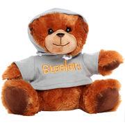 Pittsburgh Steelers Seated Hoodie Bear - Brown