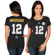 Terry Bradshaw Pittsburgh Steelers Majestic Women's Hall of Fame Fair Catch V T-Shirt - Black