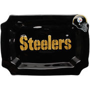 Pittsburgh Steelers Glass Rectangle Platter with Charm