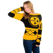 Pittsburgh Steelers Klew Women's Eyelash Crew Ugly Sweater - Black