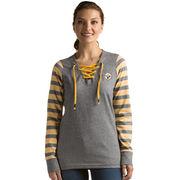 Pittsburgh Steelers Antigua Women's Rumble Lace-Up Sweatshirt - Black