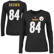 Antonio Brown Pittsburgh Steelers Majestic Women's Fair Catch Name & Number Long Sleeve T-Shirt - Black