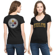 Pittsburgh Steelers '47 Brand Women's Flanker MVP V-Neck T-Shirt - Black