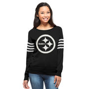 Pittsburgh Steelers '47 Brand Women's Drop Needle Sweater - Black