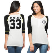 Pittsburgh Steelers '47 Brand Women's Glitz Sequined Henley 3/4-Sleeve T-Shirt - White/Black