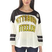 Pittsburgh Steelers Women's Hail Mary 3/4 Sleeve T-Shirt - Cream