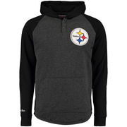 Pittsburgh Steelers Mitchell & Ness Home Stretch Hooded Long Sleeve T-Shirt - Charcoal