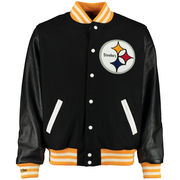 Pittsburgh Steelers Mitchell & Ness NFL Wool/Leather Varsity Jacket - Black