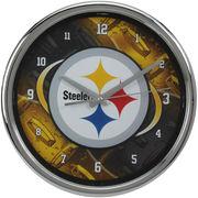 Pittsburgh Steelers Diamond Plate Chrome Wall Clock