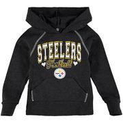 Pittsburgh Steelers 5th & Ocean by New Era Girls Youth Cutest Fan Tri-Blend Pullover Hoodie - Black
