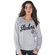 Pittsburgh Steelers G-III 4Her by Carl Banks Women's Cover 2 French Terry Crew Long Sleeve T-Shirt - Silver