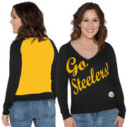 Pittsburgh Steelers Touch by Alyssa Milano Women's Plus Size MVP V-Neck Pullover Sweater - Black