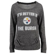 Pittsburgh Steelers Women's Better In Double Face Long Sleeve Boatneck T-Shirt - Black