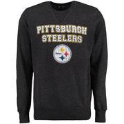 Pittsburgh Steelers Majestic Stacked Fleece Crew Tri-Blend Sweatshirt - Black