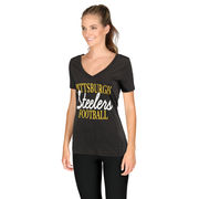Pittsburgh Steelers Women's Victory Play 2-Hit V-Neck T-Shirt - Black