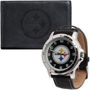 Pittsburgh Steelers Leather Watch & Wallet Set - Black