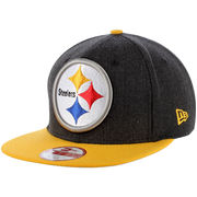 Pittsburgh Steelers New Era Heathered Logo Grand 9FIFTY Adjustable Hat - Black