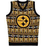 Pittsburgh Steelers Klew Ugly Sweater Vest - Black