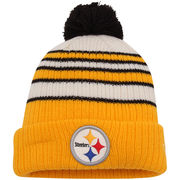 Pittsburgh Steelers New Era Traditional Stripe Cuffed Knit Hat - Gold