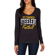 Pittsburgh Steelers Women's Direct Snap V-Neck Long Sleeve T-Shirt - Black