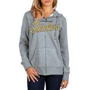 Pittsburgh Steelers Women's Home Team Full Zip Hoodie - Charcoal