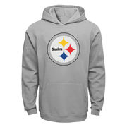 Pittsburgh Steelers Youth Current Logo Pullover Hoodie - Gray