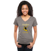 Pittsburgh Steelers NFL Pro Line Women's Throwback Logo Tri-Blend V-Neck T-Shirt - Gray