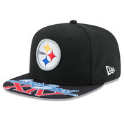 Pittsburgh Steelers New Era Super Bowl XIV On The Fifty Jumbo Vize Original Fit 9FIFTY Adjustable Hat - Black