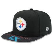 Pittsburgh Steelers New Era Super Bowl IX On The Fifty Jumbo Vize Original Fit 9FIFTY Adjustable Hat - Black
