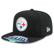 Pittsburgh Steelers New Era Super Bowl XLIII On The Fifty Champions Jumbo Vize Original Fit 9FIFTY Adjustable Hat - Black
