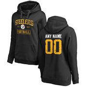Women's Black Pittsburgh Steelers Distressed Custom Name & Number Pullover Hoodie