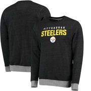 Pittsburgh Steelers NFL Pro Line Team Essentials Elevation Clean Color Crew Pullover Tri-Blend Sweatshirt - Black