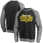 Pittsburgh Steelers NFL Pro Line Timeless Booster Varsity Crew Fleece Raglan Sleeve Tri-Blend Sweatshirt - Black