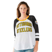 Pittsburgh Steelers G-III 4Her by Carl Banks Women's Fair Catch Three-Quarter Sleeve T-Shirt - White