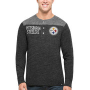 Pittsburgh Steelers '47 Neps Henley Tri-Blend Long Sleeve T-Shirt - Black