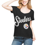 Pittsburgh Steelers '47 Women's Flair Roundoff T-Shirt - Black